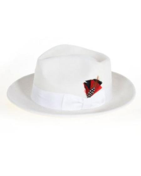 SKU#OW2111 Mens Off White Fedora Hat