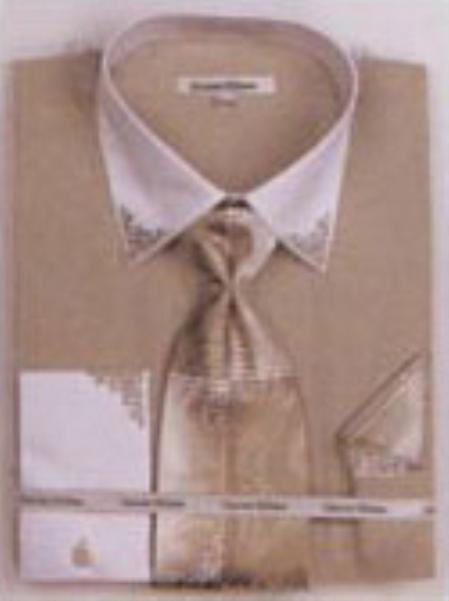 SKU#OL7832 Mens Olive French Cuff Shirts with Cuff Links $65