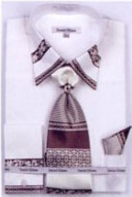 SKU#FP3056 Mens Patched French Cuff Shirts with Cuff Links Ivory $65
