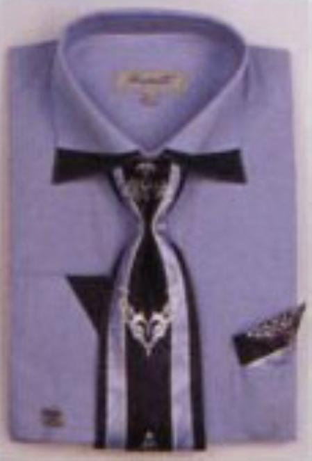 SKU#LB7392 Mens Patched French Cuff Shirts with Cuff Links Light Blue $65