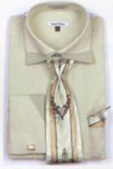 SKU#FC7932 Mens Patched French Cuff Shirts with Cuff Links Sage $65