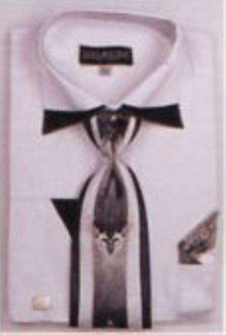 SKU#WS732 Mens Patched French Cuff Shirts with Cuff Links White $65