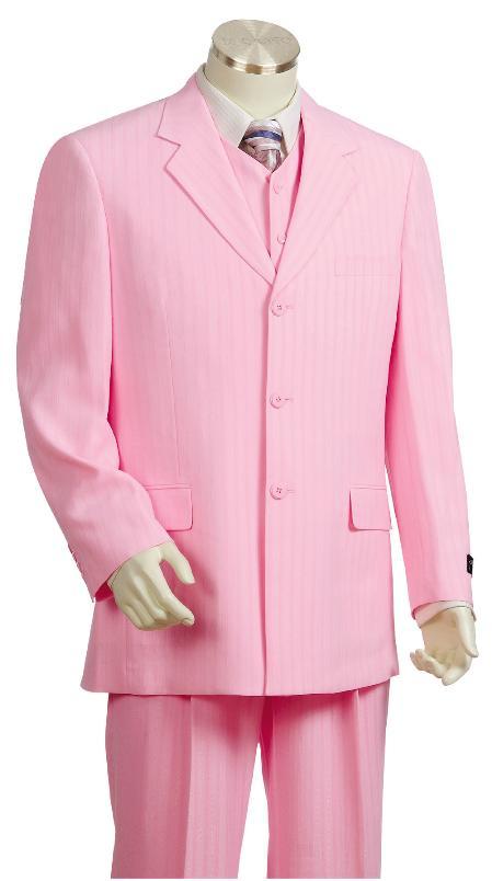 SKU#GU8170 Mens Pinstripe Gangester Zoot Suit Pink $175