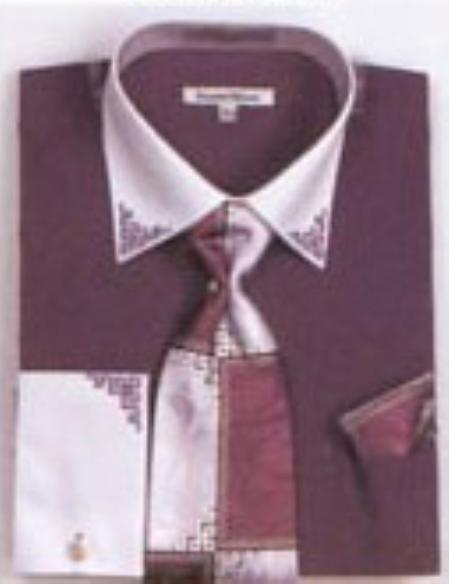 SKU#VX6802 Mens Purple French Cuff Shirts with Cuff Links $65