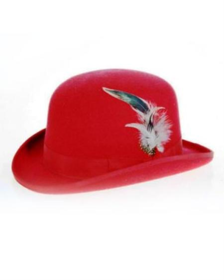 SKU#RD9211 Mens Red Derby ~ Bowler Hat $49