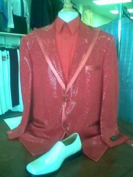 SKU#ED6738 Mens Red Shiny Flashy Metallic Tuxedo Suit Peak Lapel $225