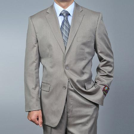 SKU#TF1452 Mens Sand Twill-pattern 2-button Khaki Suit $139