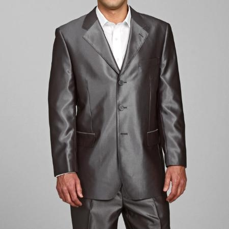 SKU#SH22 Mens Shiny Grey 3 buttons Suit
