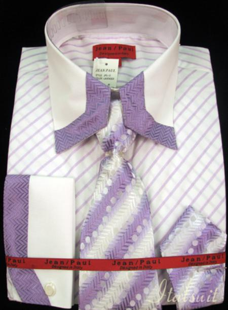 SKU#YJ1012 Mens Shirt Tie and Hankie Set - Lavender $65