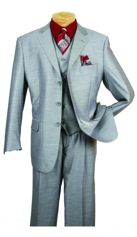 SKU#AL753 Mens Silver Gray-Ash 3 Piece 3 Button three piece suit with a Fully Lined Vest and Pleated Pants $139