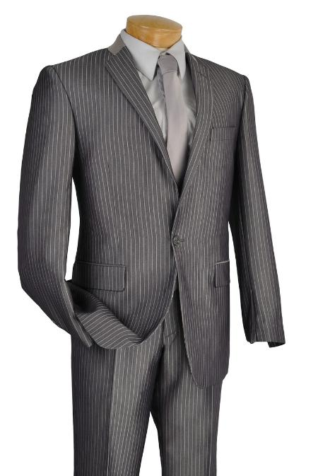 SKU#GR9213 Mens Single Breasted 1 Button Slim Suit Gray $149