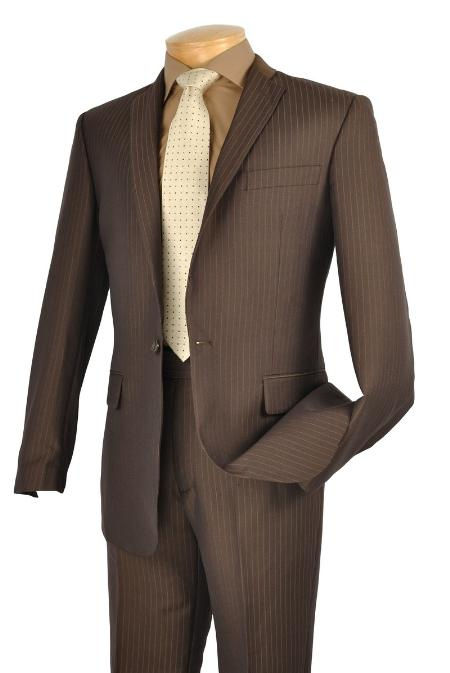 SKU#TH8222 Mens Single Breasted 1 Button Slim Suit Mocha $149
