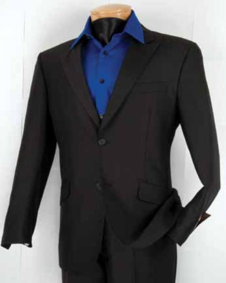 SKU#YL8022 Mens Single Breasted 2 Button Herringbone Tweed Stripe ~ Pinstripe Slim Fit Suit Black