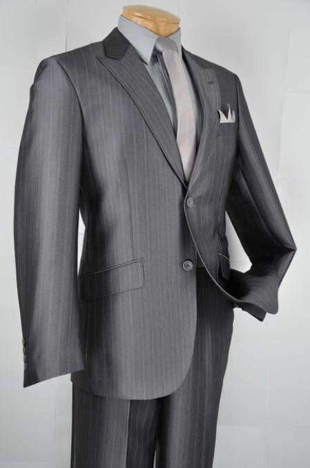 SKU#HL1202 Mens Single Breasted 2 Button Herringbone Stripe Slim Fit Suit Charcoal $139