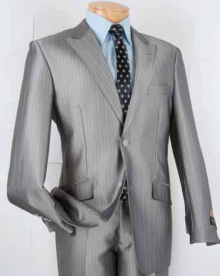 SKU#SL3532 Mens Single Breasted 2 Button Herringbone Stripe Slim Fit Suit Silver $139