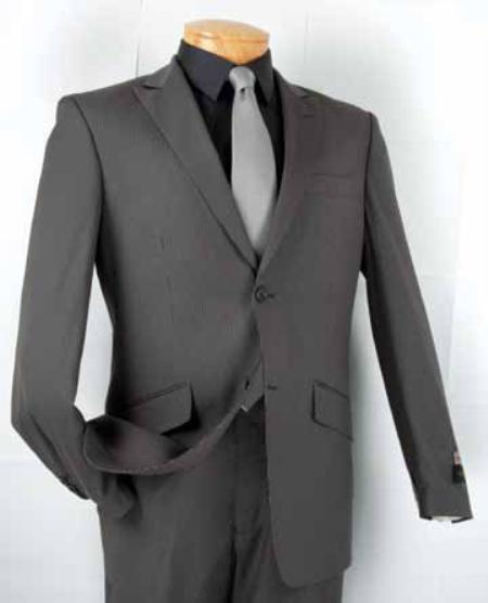 SKU#KZ0211 Mens Single Breasted 2 Button Peak Lapel Slim Fit Suit Gray