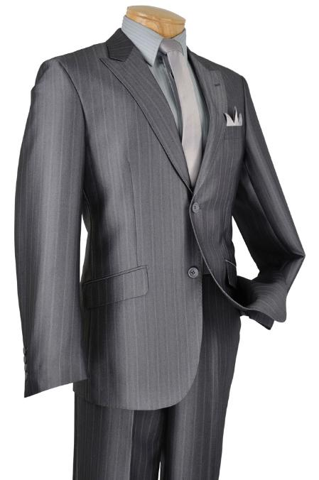 SKU#RQ2021 Mens Single Breasted 2 Button Peak Lapel Pointed English Style Lapel Slim Suit Charcoal