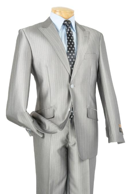SKU#FH8322 Mens Single Breasted 2 Button Peak Lapel Slim Suit Silver $185