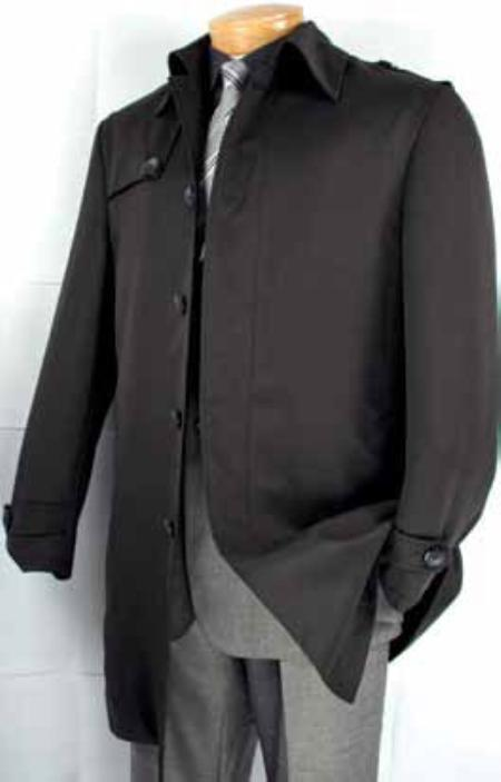 SKU#PK9254 Mens Single Breasted 5 Button Fashion Coat Black $199
