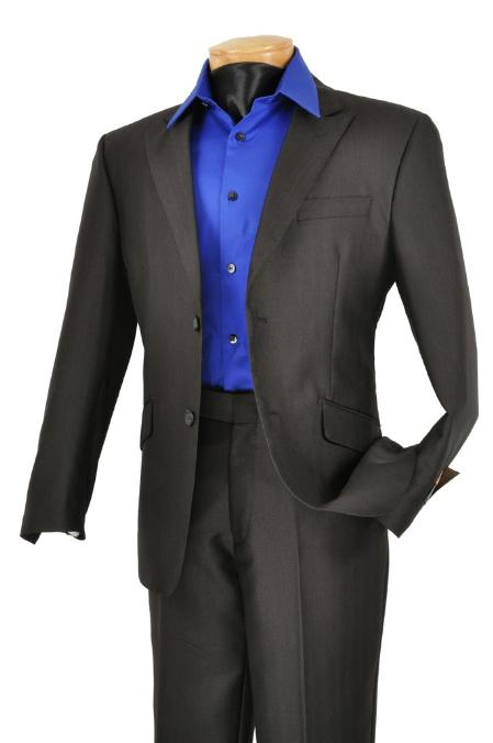 SKU#RQ2021 Mens Single Breasted Black 2 Button Peak Lapel Pointed English Style Lapel Slim Suit