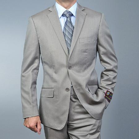 SKU#JI1879 Mens Slim Fit Sand Twill 2-button Khaki Suit $125