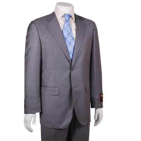 SKU#TR2012 Mens Solid Grey 2-button Suit