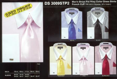 SKU#BF9021 Mens Stripe Pat Riley Dress Shirt Available in 5 Colors $39