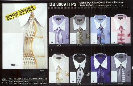 SKU#SW1023 Mens Stripe Pat Riley Dress Shirt Available in 8 Colors $39