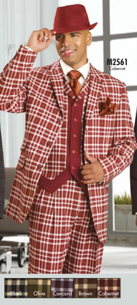 SKU#TC7902 Mens Stylish 3PC Suit Cabernet $175