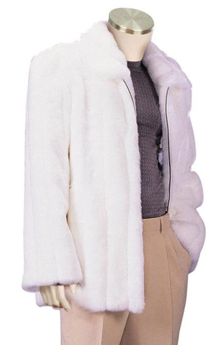 SKU#SC8291 Mens Stylish Faux Fur Coat White