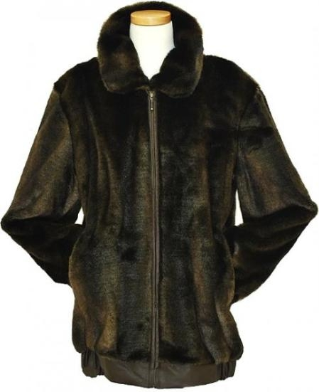 SKU#YQ4529 Mens Stylish Faux Fur Bomber Jacket Brown