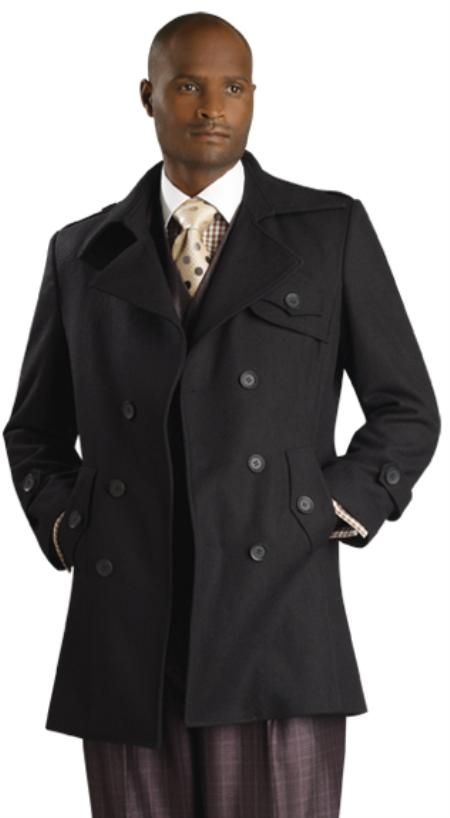 SKU#TB8222 Mens Stylish Overcoat Black