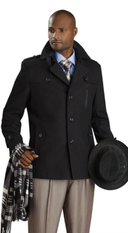 SKU#ZP9212 Mens Stylish Overcoat - Black
