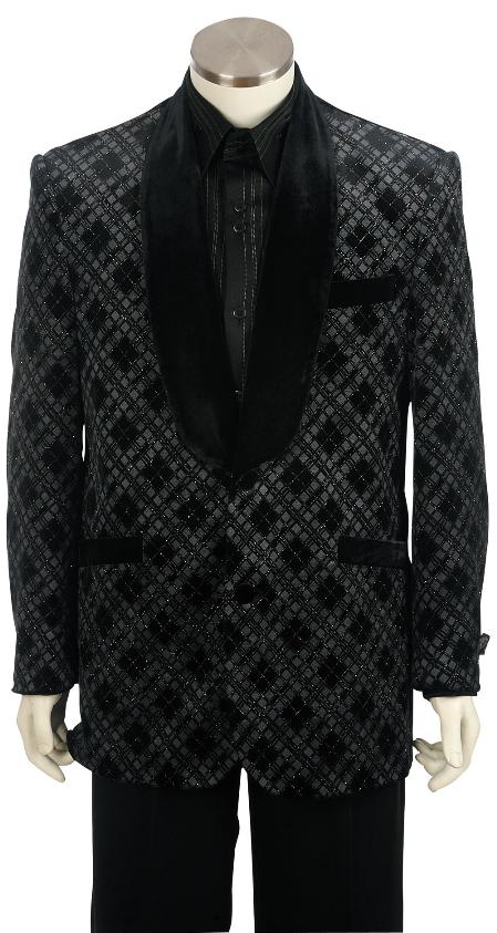 SKU#NR8162 Mens Stylish Velvet velour Fashion Unique Tuxedo Black