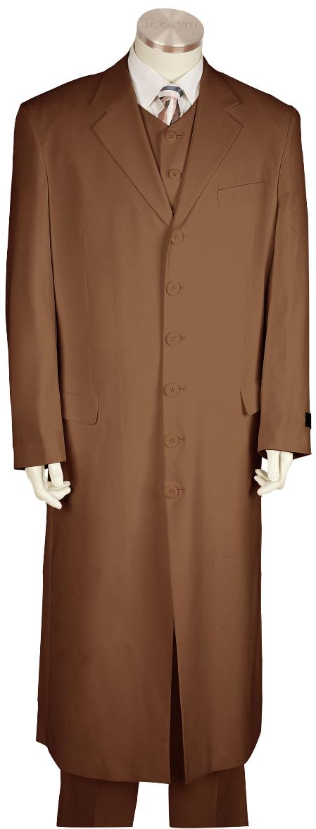 SKU#YQ8171 Mens Stylish Zoot Suit Brown Maxi Super Long Style