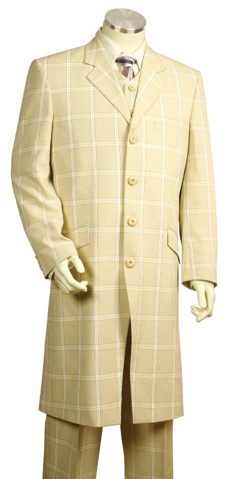 1970s Men's Suits History | Sport Coats & Tuxedos 4 Button Fashion Cream Zoot Suit Mens $170.00 AT vintagedancer.com