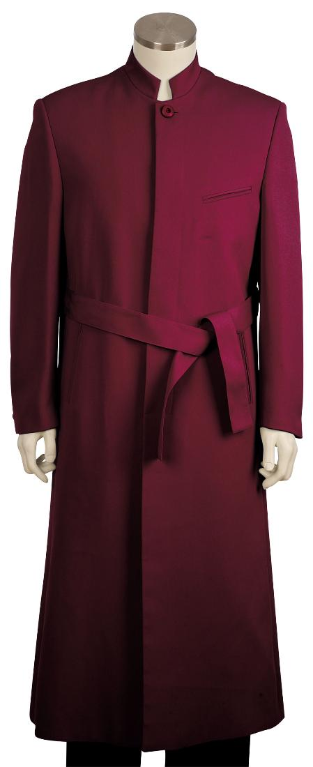 SKU#BW8101 Mens Stylish clergy robes Zoot suit Burgundy ~ Wine ~ Maroon ~ Raisin 45 Long Jacket EXTRA LONG JACKET Maxi Very Long $125
