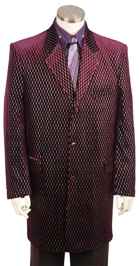 SKU#LX8110 Mens Stylish Velvet Suit Burgundy ~ Wine ~ Maroon ~ Raisin
