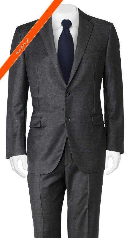 SKU#YM3209 Mens Suit Slim Cut European Black in 2-Button