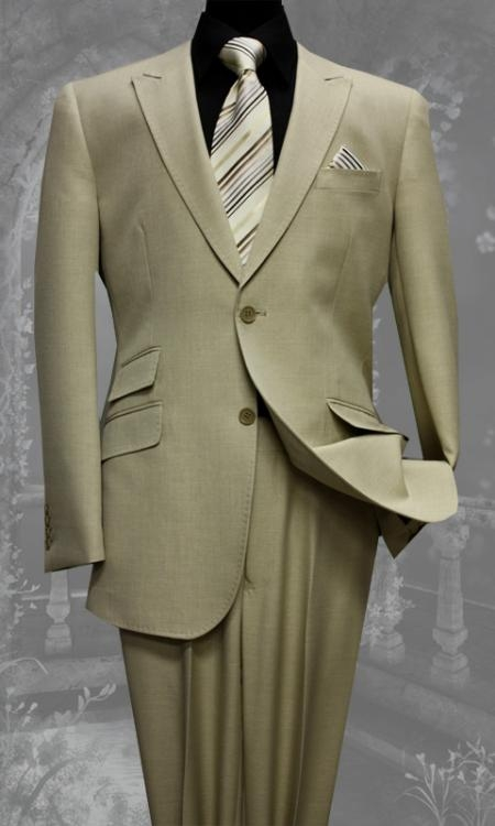 SKU#RG5410 Mens Tan Slim Fit Super 150s 2 Piece Wool Suit $175