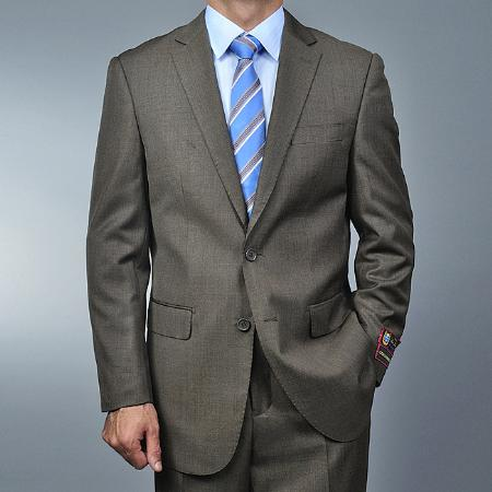 SKU#DV1859 Mens Taupe 2-buttton Suit