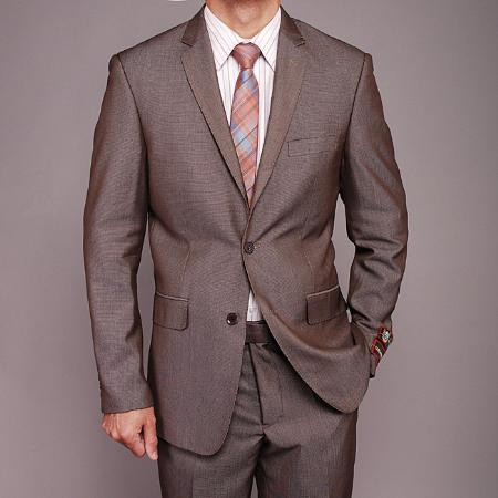 SKU#TH6869 Mens Taupe Birdseye 2-button Slim-fit Suit $149