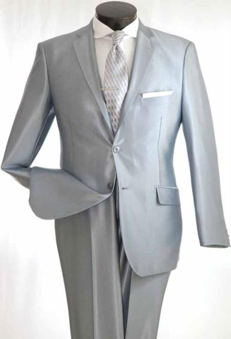 SKU#VS3222 Mens True Slim Suit in Popular Shark Skin Fabric Silver