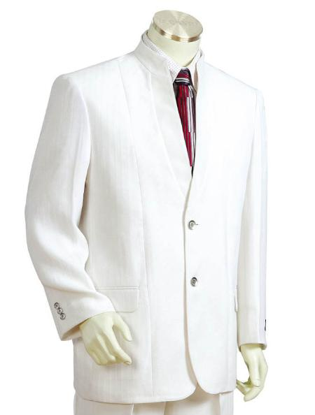 SKU#JE1742 Mens Two Button Suits White