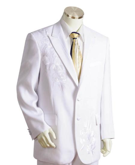 SKU#LK0215 Mens Two Button Suits White $175