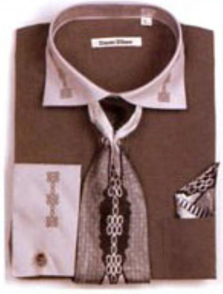 SKU#WM9711 Mens Two Tone Embroidery French Cuff Shirts with Cuff Links Charcoal $65