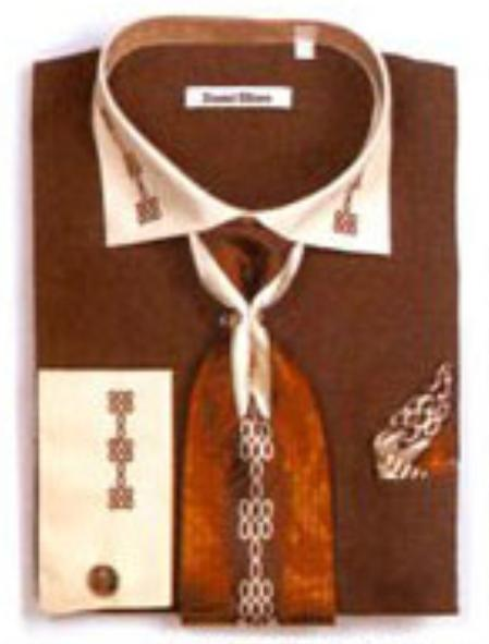 SKU#XP6732 Mens Two Tone Embroidery French Cuff Shirts with Cuff Links Dark Brown $65