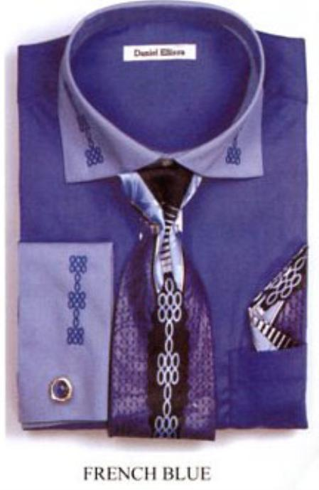 SKU#NV2377 Mens Two Tone Embroidery French Cuff Shirts with Cuff Links French Blue $65