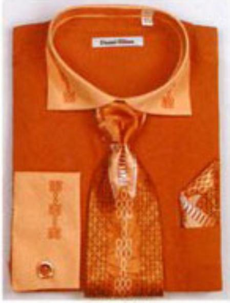 SKU#BL6732 Mens Two Tone Embroidery French Cuff Shirts with Cuff Links Rust $65