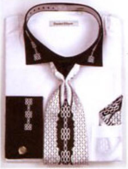 SKU#EM7293 Mens Two Tone Embroidery French Cuff Shirts with Cuff Links White $65